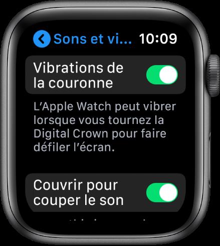 L'écran Vibrations de la couronne, avec le bouton Vibrations de la couronne en position «activé».