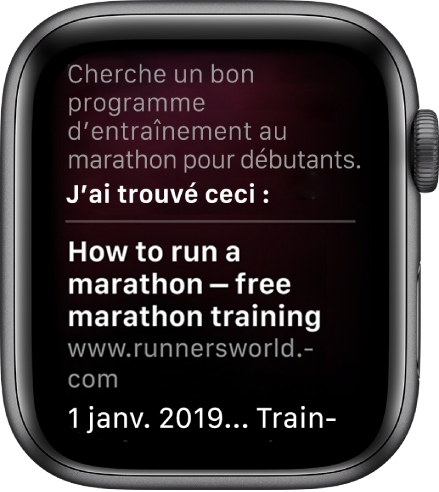 "Siri répondant à la question ""What is a good marathon training plan for beginners"" grâce à des informations trouvées sur le Web."