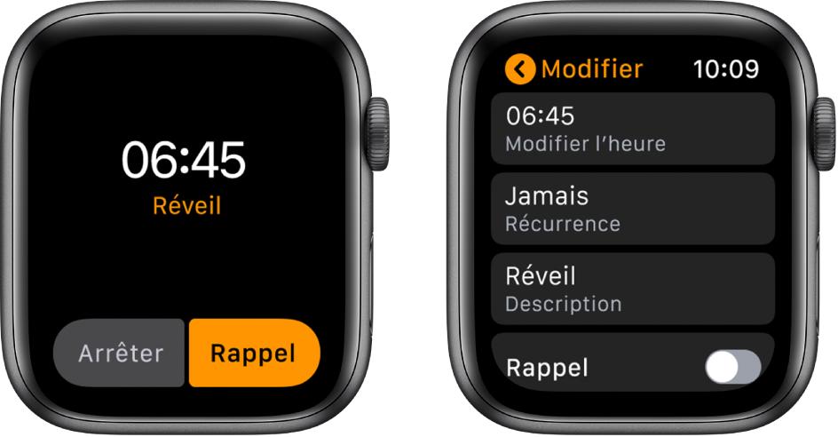 Deux écrans de la montre: L'un montre un cadran avec un bouton pour répéter le réveil, l'autre montre les réglages Modifier avec la commande de rappel vers le bas.