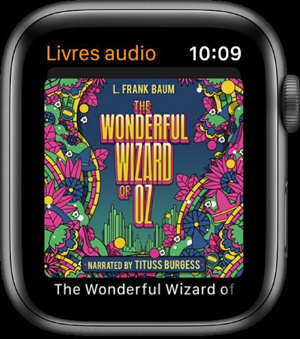 L'écran Livres audio montrant la couverture d'un livre.