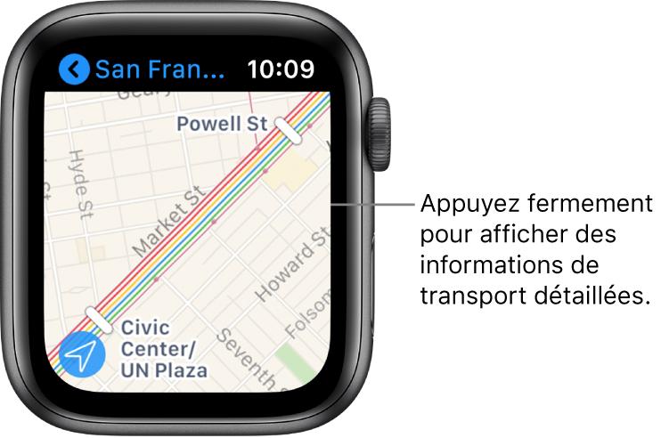 App Plans affichant les détails d'un transport, notamment le tracé du trajet et les noms des arrêts.