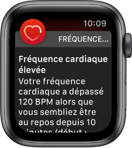 L'écran «Fréquence cardiaque élevée» affichant une notification mentionnant que votre fréquence cardiaque a dépassé 120bpm pendant une période d'inactivité de 10minutes.