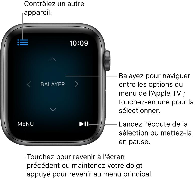 Écran de l'AppleWatch pendant que celle-ci sert de télécommande. Le bouton Menu se trouve dans le coin inférieur gauche et le bouton Lecture/Pause dans le coin inférieur droit. Le bouton Menu se trouve en haut à gauche.