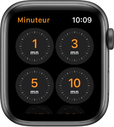 Écran de l'app Minuteur, montrant des durées de 1, 3, 5, ou 10 minutes.