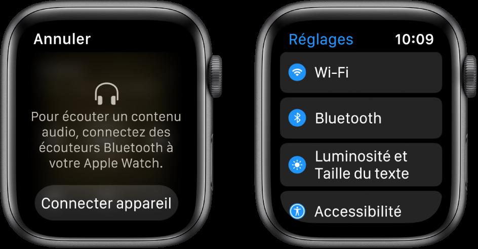 Si vous changez la source audio de votre AppleWatch avant de jumeler les écouteurs ou les haut-parleurs Bluetooth, un bouton «Connecter appareil» s'affiche en bas de l'écran. Il redirige vers les réglages Bluetooth de l'AppleWatch, où vous pouvez ajouter un appareil de sortie audio.