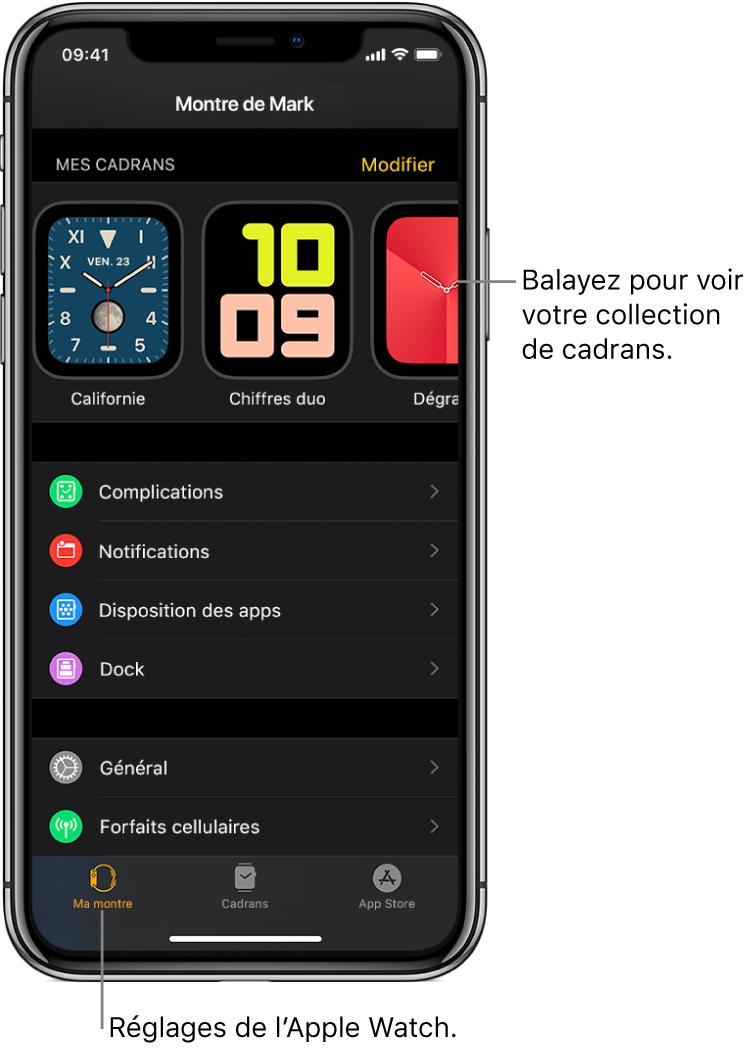 App AppleWatch sur l'iPhone ouverte à l'écran Mamontre, qui montre des cadrans en haut et des réglages en dessous. Le bas de l'écran de l'app AppleWatch possède quatre onglets: l'onglet de gauche est Ma montre, où vous pouvez ajuster les réglages de l'AppleWatch, en regard se trouve la galerie de cadrans où vous pouvez découvrir les cadrans et complications disponibles, et l'AppStore, où vous pouvez télécharger des apps pour l'AppleWatch. Le dernier onglet s'appelle Recherche et sert à trouver des apps dans l'AppStore.
