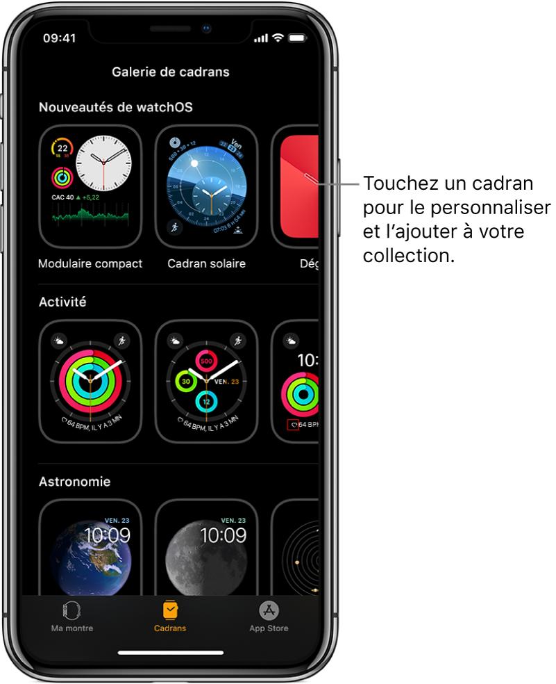App AppleWatch affichant la galerie de cadrans. Le rang supérieur affiche de nouveaux cadrans, les rangs suivants affichent des cadrans groupés en fonction de leur catégorie: Activité ou Astronomie, par exemple. Vous pouvez faire défiler pour voir plus de cadrans regroupés par type.