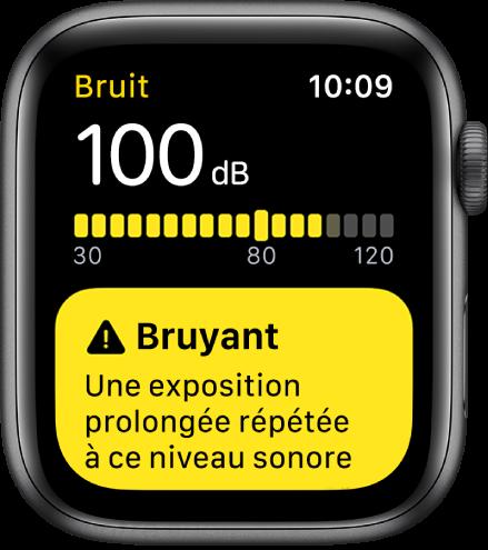 Un écran Bruit affichant un niveau de 100dB. Un avertissement s'affiche en dessous.