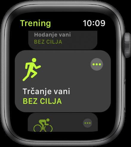 Zaslon Treninga s istaknutim treningom trčanja na otvorenom.
