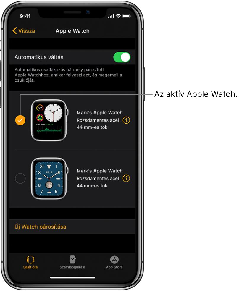 A pipajel az aktív Apple Watchot jelöli.