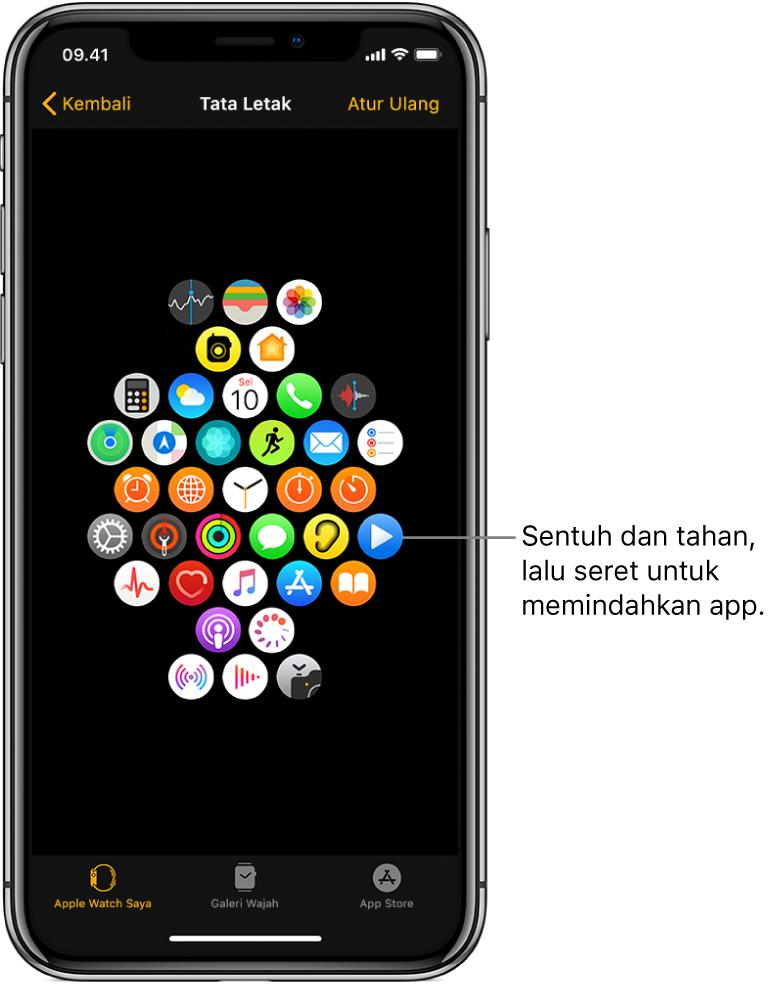 """Layar Tata Letak pada app Apple Watch menampilkan grid ikon. Keterangan yang menunjuk ke ikon app dan berbunyi, """"Sentuh dan seret untuk memindahkan app."""""""