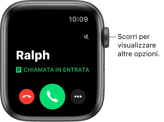 """La schermata di ricezione delle chiamate su Apple Watch, con il nome di chi sta chiamando, le parole """"Chiamata in entrata"""", il pulsante rosso Rifiuta, il pulsante verde Rispondi e il pulsante """"Più opzioni""""."""