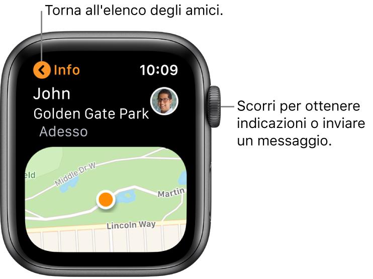 Una schermata che mostra i dettagli sulla posizione di un amico, inclusa la distanza da te e la sua posizione su una mappa.
