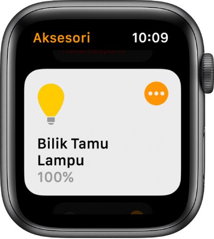 App rumah menunjukkan aksesori lampu. Ketik ikon di penjuru kanan atas aksesori untuk laraskan setingnya.