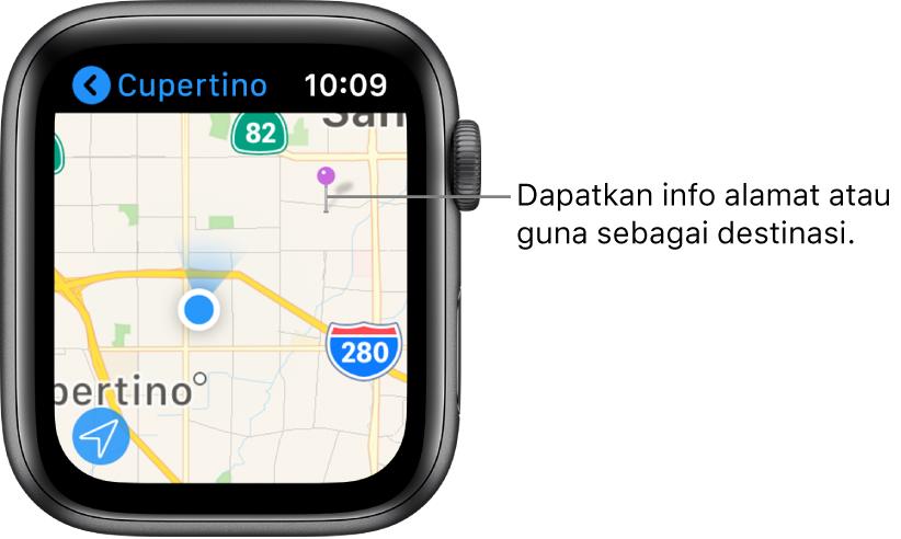 App Peta menunjukkan peta dengan pin ungu diletakkan atasnya, yang boleh digunakan untuk mendapatkan alamat anggaran sesuatu tempat pada peta, atau sebagai destinasi untuk arah.