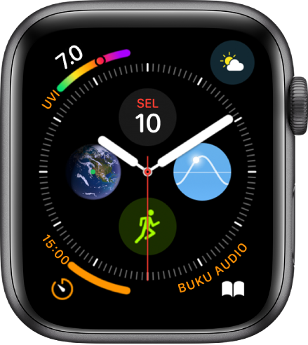 Muka jam Infograf menunjukkan komplikasi di setiap penjuru dan empat subdail di bahagian tengah.