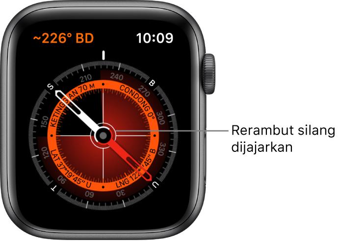 Kompas ini pada muka jam Apple Watch. Di bahagian kiri atas ialah bearing. Bulatan dalaman menunjukkan ketinggian, condong, latitud dan longitud. Rerambut silang putih muncul menghala ke utara, selatan, timur dan barat.