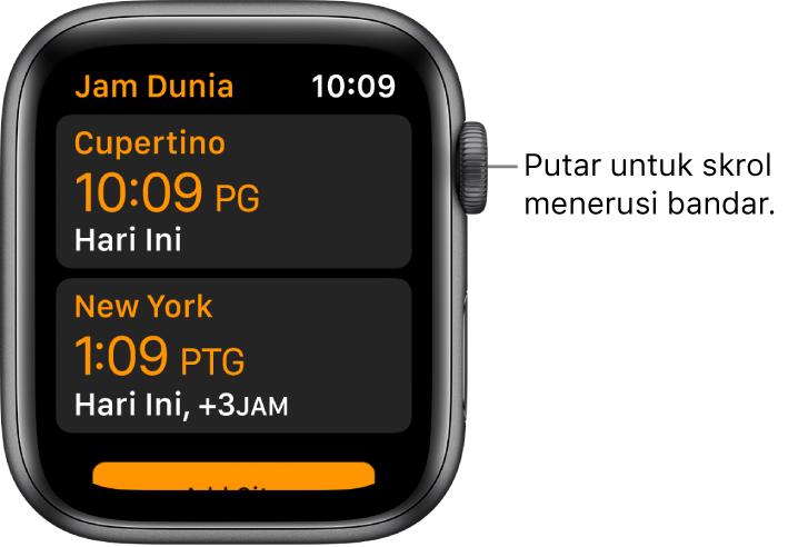 App Jam Dunia dengan senarai bandar dan bar skrol.