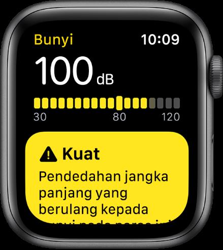 App Bunyi menunjukkan bacaan 100dB. Amaran tentang pendedahan jangka panjang terhadap paras bunyi ini muncul di bawah.