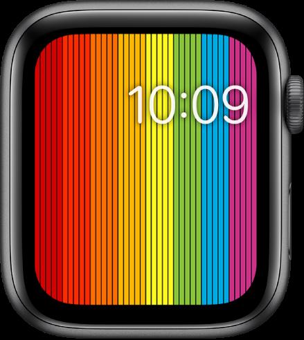 Muka jam Pride Digital menunjukkan jaluran pelangi menegak dengan masa di sebelah kanan atas.