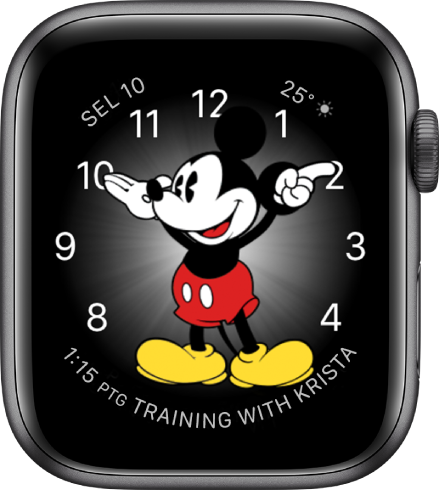 Muka jam Mickey Mouse di mana anda boleh menambah banyak komplikasi.