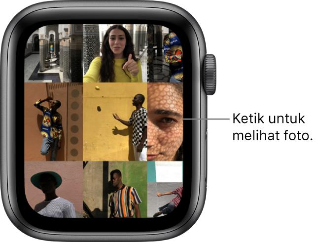 Srin utama app Foto pada Apple Watch, dengan beberapa foto dipaparkan dalam grid.