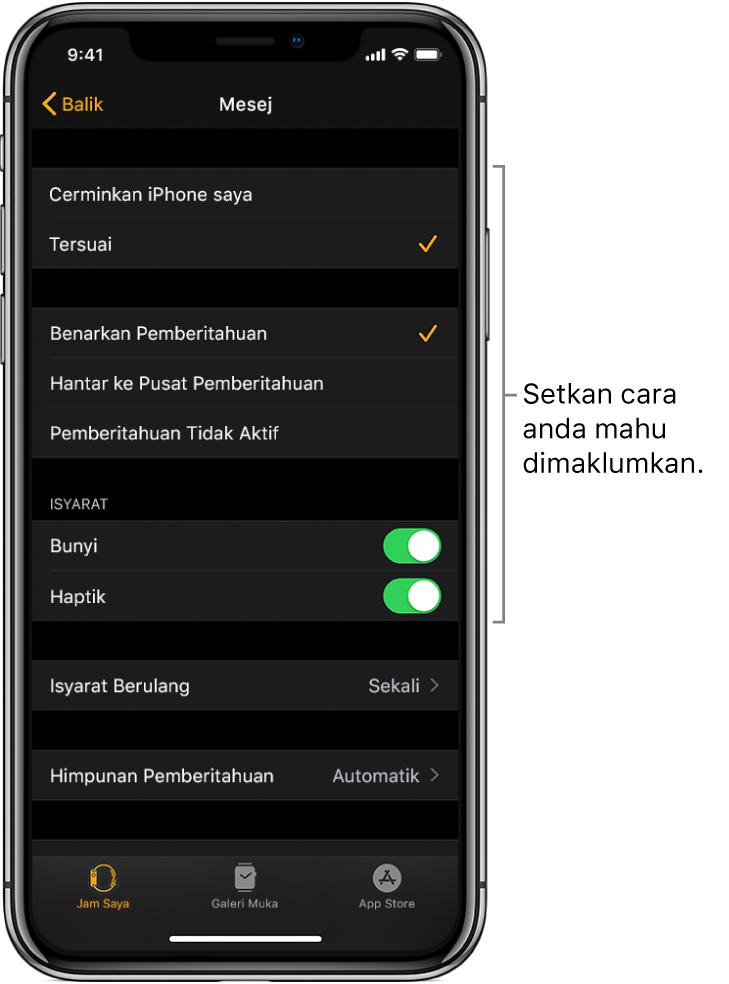 Seting Mesej dalam app Apple Watch pada iPhone. Anda boleh memilih sama ada untuk tunjukkan isyarat, aktifkan bunyi, aktifkan haptik dan ulang isyarat.