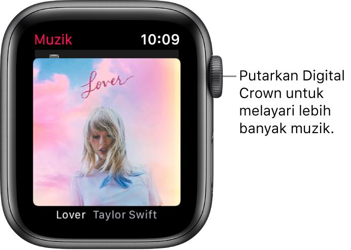 Skrin menunjukkan album dan karya seninya dalam app Muzik.