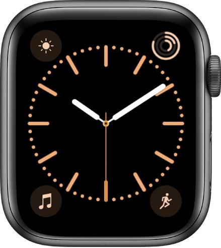 Muka jam Warna, di mana anda boleh laraskan warna muka jam. Ia menunjukkan empat komplikasi: Cuaca di bahagian kiri atas, Aktiviti di bahagian kanan atas, Muzik di bahagian kiri bawah dan Aktiviti di bahagian kanan bawah.