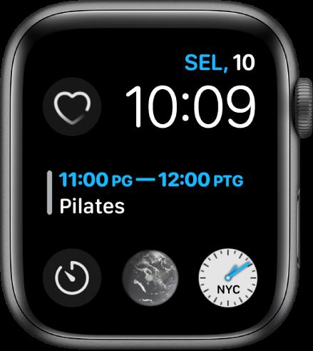 Muka jam Modular Infograf menunjukkan hari, tarikh dan masa di sebelah kanan atas, cuaca di bahagian tengah dan tiga subdail berdekatan bahagian bawah.