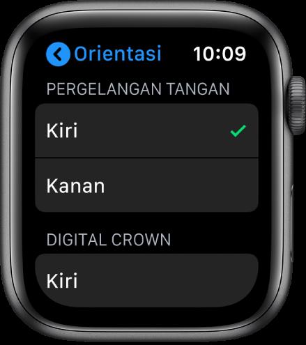 Pintasan skrin Orientasi pada Apple Watch Anda boleh setkan pergelangan tangan anda dan keutamaan Digital Crown.