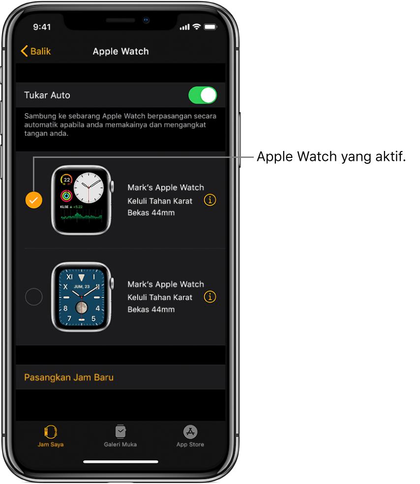 Tanda Semak menunjukkan Apple Watch yang aktif.