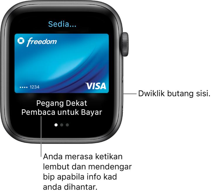 """Skrin Apple Pay dengan """"Sedia"""" di atas dan """"Pegang Berdekatan Pembaca untuk Bayar"""" di bawah; anda akan merasa ketikan lembut dan mendengar bip apabila maklumat kad anda dihantar."""