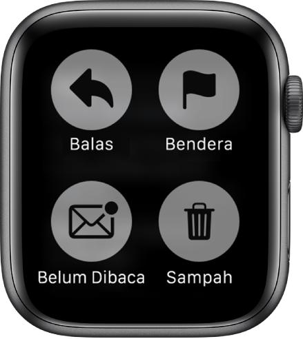 Apabila anda menekan paparan semasa melihat mesej pada Apple Watch, empat butang muncul di skrin: Balas, Bendera, Belum Dibaca dan Sampah.