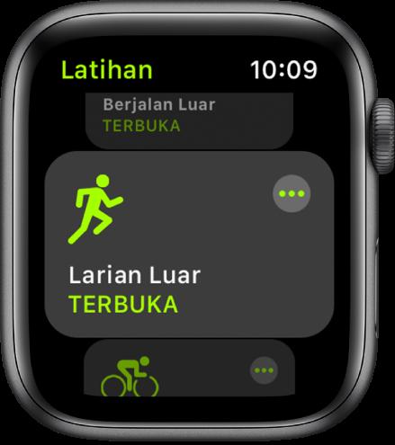 Skrin Latihan dengan latihan Larian Luar diserlahkan.