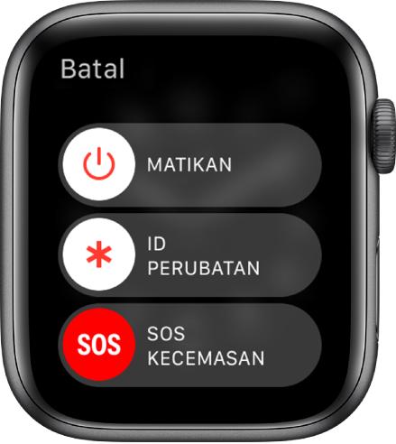 Skrin Apple Watch menunjukkan tiga gelangsar: Matikan Kuasa, ID Perubatan dan SOS Kecemasan. Seret gelangsar Matikan untuk nyahaktifkan Apple Watch