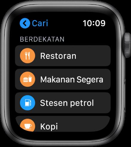 App Peta menunjukkan senarai kategori: Restoran, Makanan Segera, Stesen Minyak, Kopi dan banyak lagi.