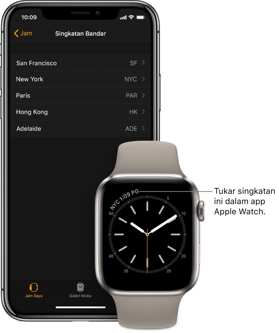 Muka jam dengan penunjuk ke waktu di Kuala Lumpur, menggunakan singkatan KUL. Skrin seterusnya menunjukkan senarai bandar pada seting Singkatan Bandar, dalam seting Jam dalam app Apple Watch pada iPhone.