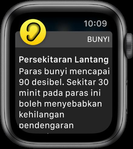 Apple Watch menunjukkan pemberitahuan Bunyi. Ikon untuk app yang berkaitan pemberitahuan kelihatan di bahagian kiri atas. Anda boleh ketiknya untuk membuka app tersebut.