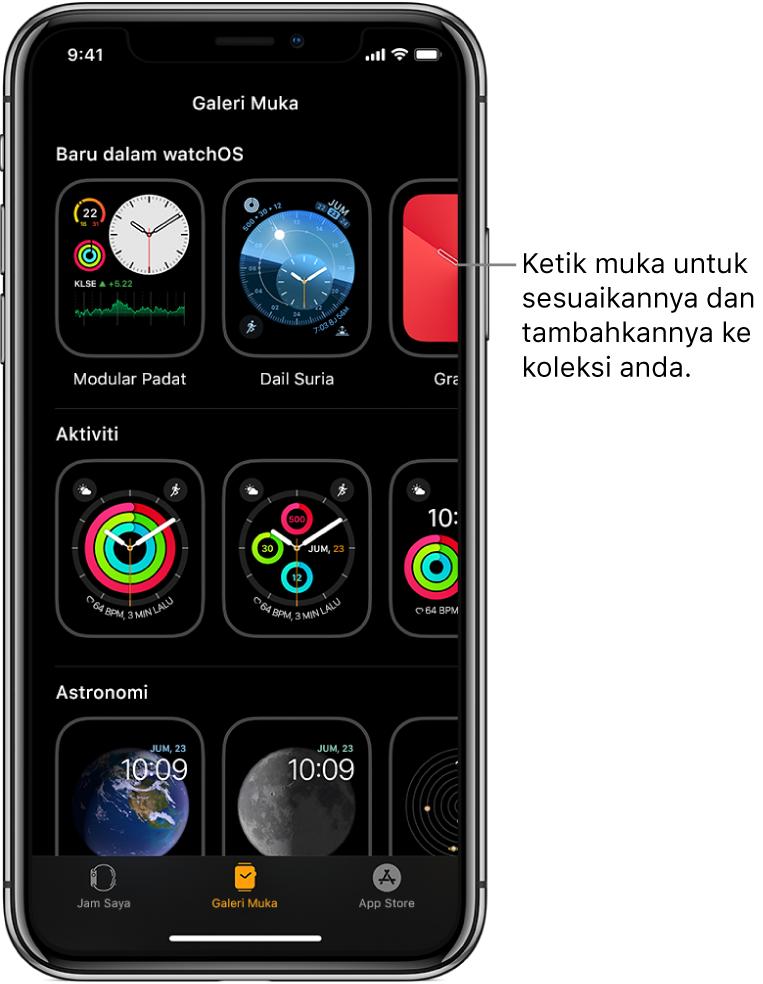 App Apple Watch membuka Galeri Muka. Baris teratas menunjukkan muka baru, baris seterusnya menunjukkan muka yang dikumpulkan mengikut jenis—contohnya Aktiviti dan Astronomi. Anda boleh skrol untuk melihat lebih banyak muka dihimpunkan mengikut jenis.