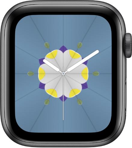 Muka jam Kaleidoskop yang anda boleh tambah komplikasi dan laras corak muka jam. Ia menunjukkan komplikasi Aktiviti di bahagian kiri atas, komplikasi Latihan di bahagian kanan atas anda komplikasi Keadaan Cuaca di bahagian bawah.
