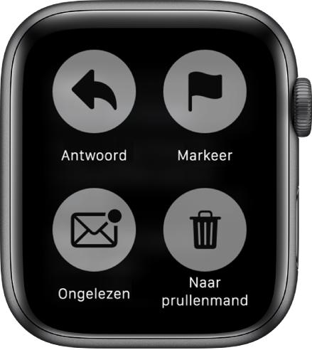 Als je op je AppleWatch op een scherm met een bericht drukt, verschijnen er vier knoppen op het scherm: 'Antwoord', 'Markeer', 'Ongelezen' en 'Naar prullenmand'.