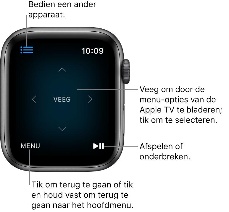 Het scherm van een AppleWatch die als afstandsbediening wordt gebruikt. Linksonder bevindt zich de knop 'Menu' en rechtsonder bevindt zich de knop voor afspelen en onderbreken. Linksbovenin bevindt zich de menuknop.