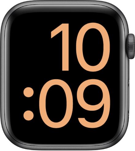 De wijzerplaat XL met de tijd schermvullend in digitale vorm.