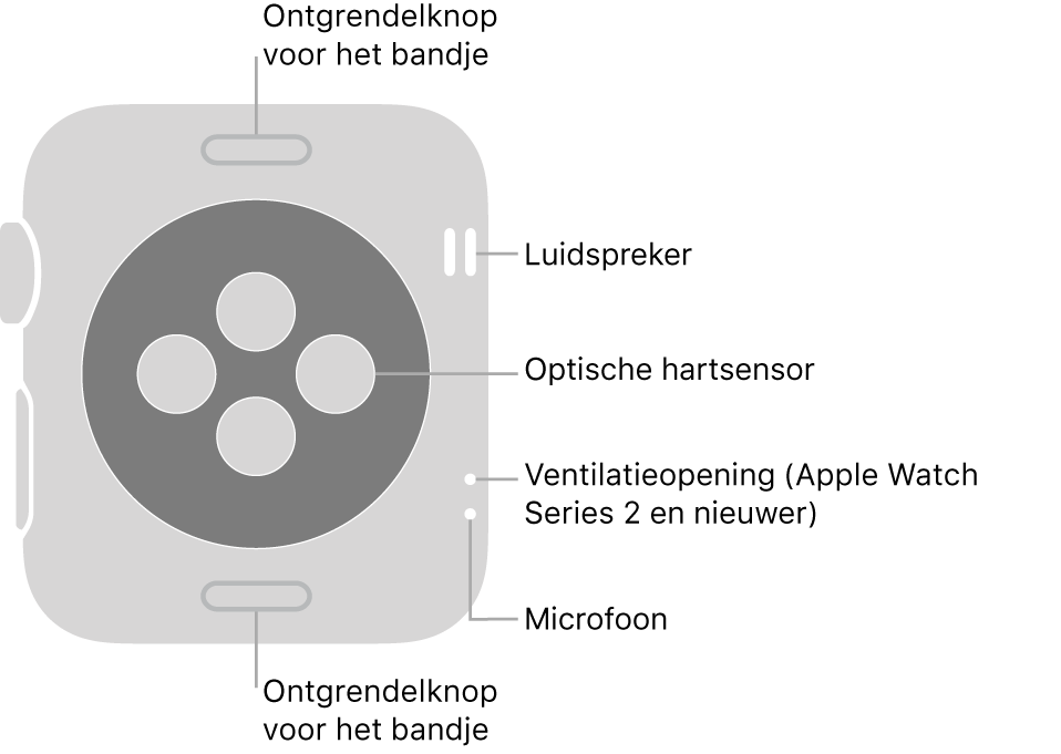 De achterkant van de AppleWatch Series3 en eerdere modellen met bijschriften bij de ontgrendelknop voor het bandje, de luidspreker, de optische hartsensor, de ventilatieopening en de microfoon.