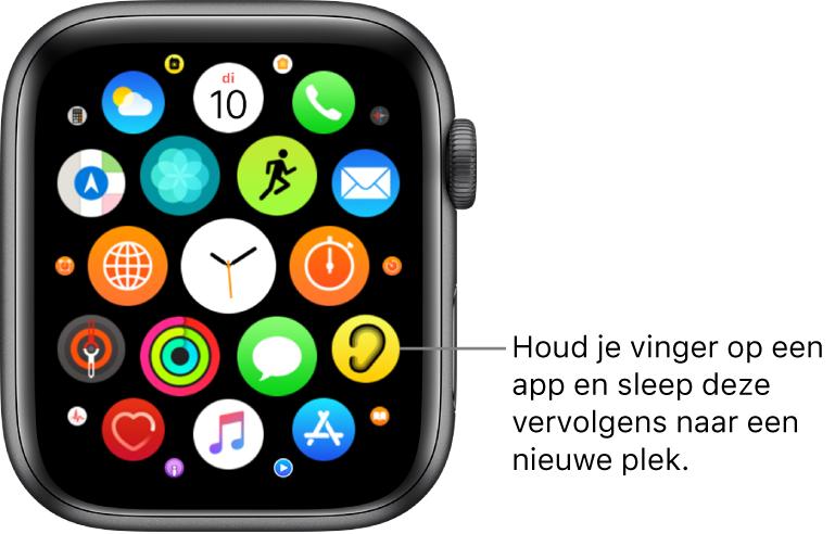"""Beginscherm van de AppleWatch in de rasterweergave. Het bijschrift luidt: """"Houd je vinger op een appsymbool en sleep het vervolgens naar een nieuwe plek."""""""