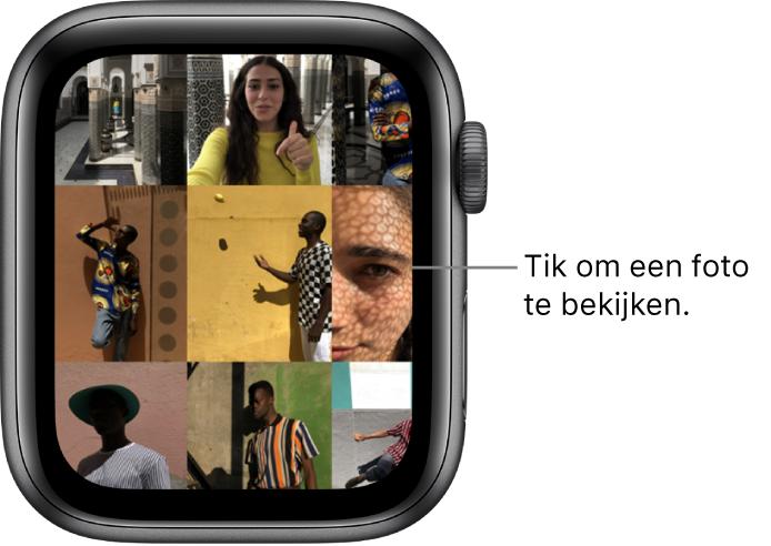 Het hoofdscherm van de Foto's-app op de AppleWatch, met verschillende foto's in een raster.