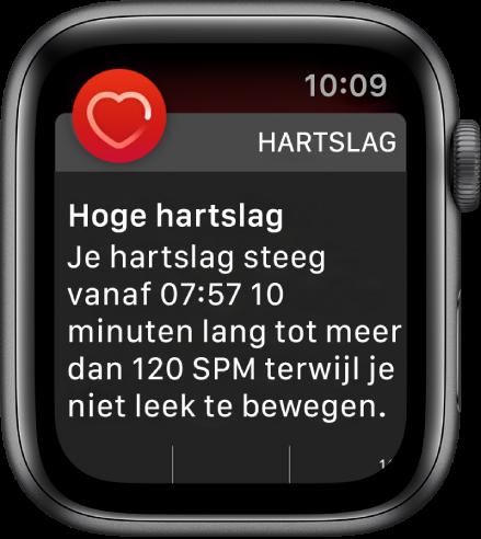 Het scherm 'Hoge hartslag' met een melding dat je hartslag boven de 120slagen per minuten is gebleven terwijl je 10minuten lang niet hebt bewogen.