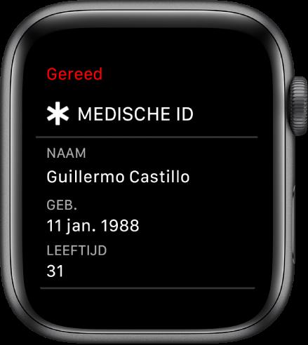 Het scherm 'Medische ID' met de naam, geboortedatum en leeftijd van de gebruiker.