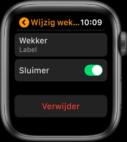 Het scherm 'Wijzig wekker', met onderin de knop 'Verwijder'.